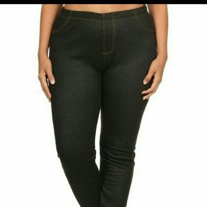 dark blue denim look plus size leggings